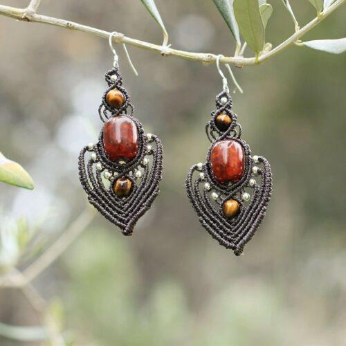 Boucles d'oreilles orientales en ambre recyclée bijoux faits main originaux
