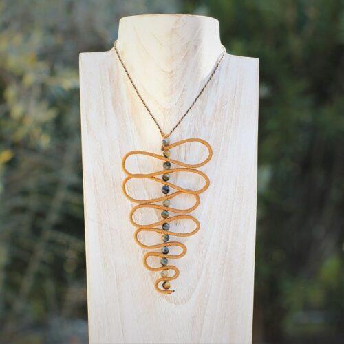 Collier serpent pour femme ocre jaune MIA Provence