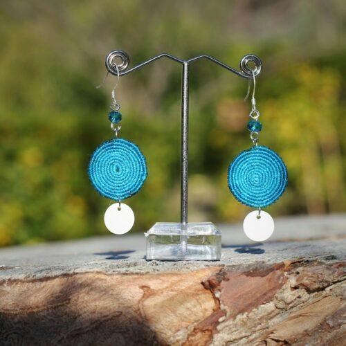 boucle d'oreille ronde plate bleue - MIA Provence