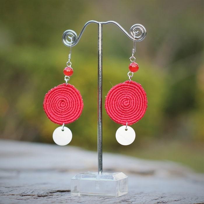 Boucle d'oreille ronde plate rouge - MIA Provence
